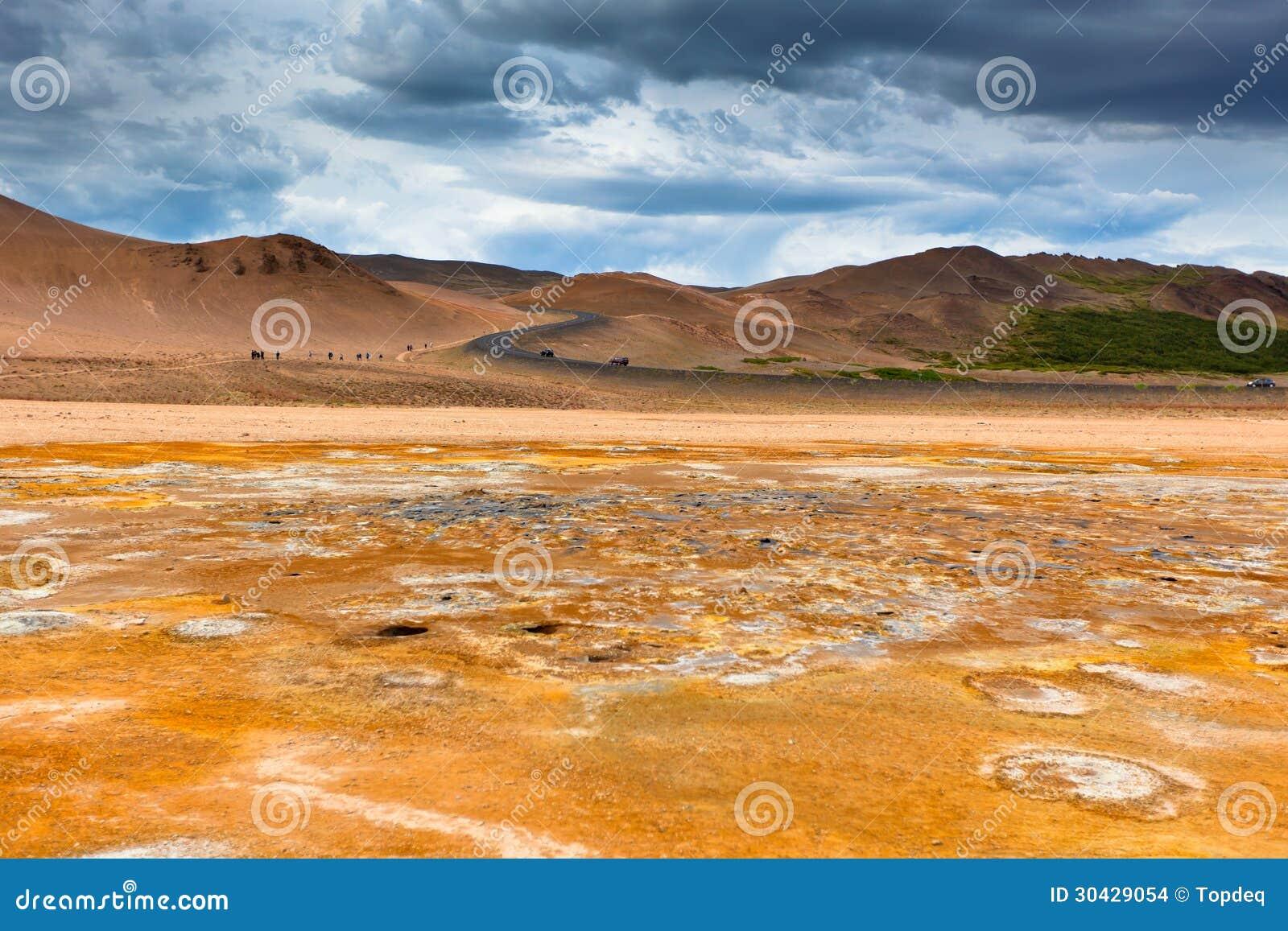 Namafjall, een Geothermisch Gebied met Zwavelgebieden in IJsland