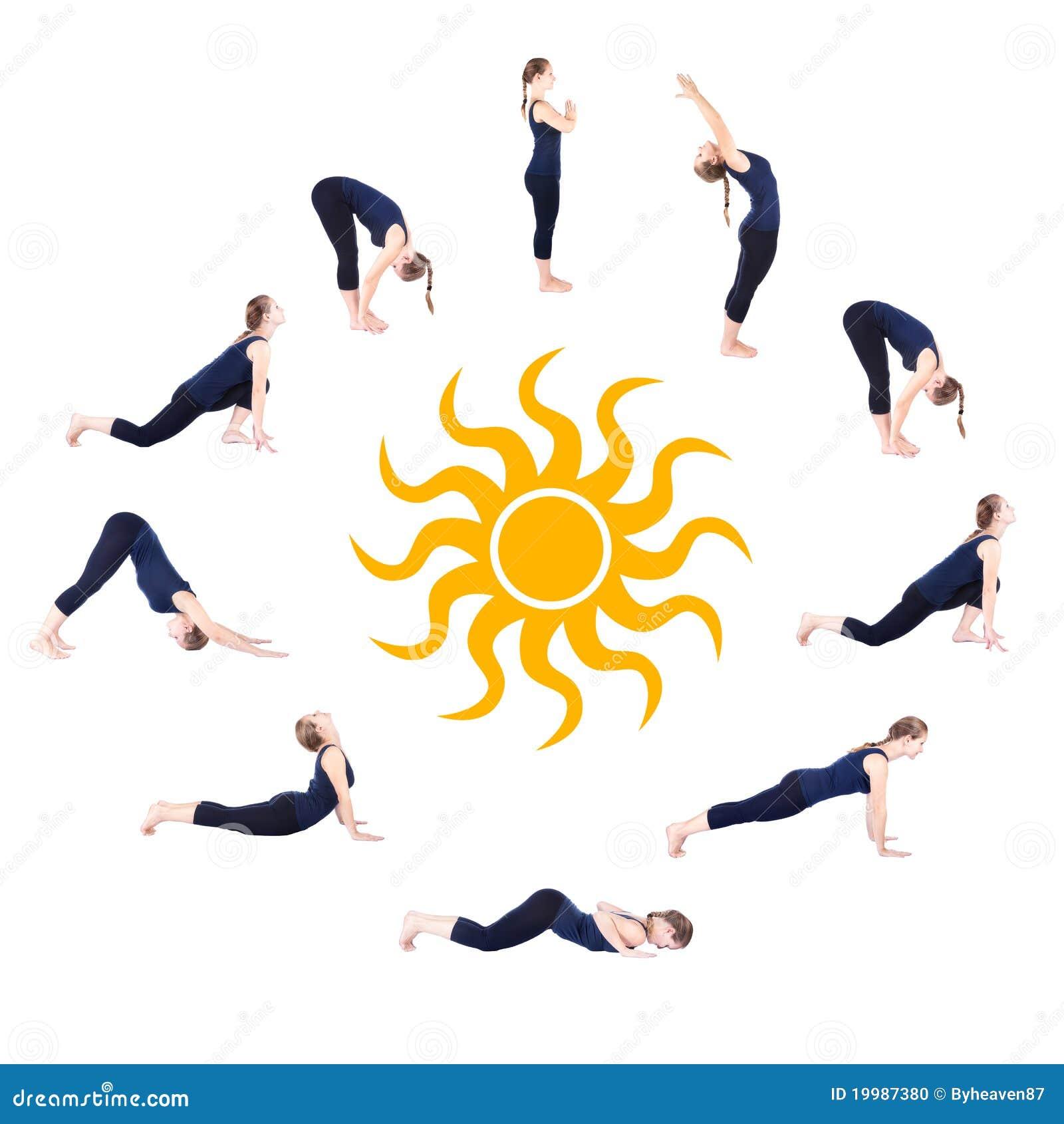 Namaskar salutation шагает йога surya солнца