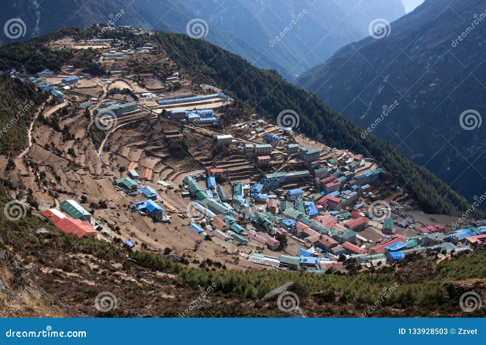 Namche Bazaar View From Above In Sagarmatha National Park, Nepal