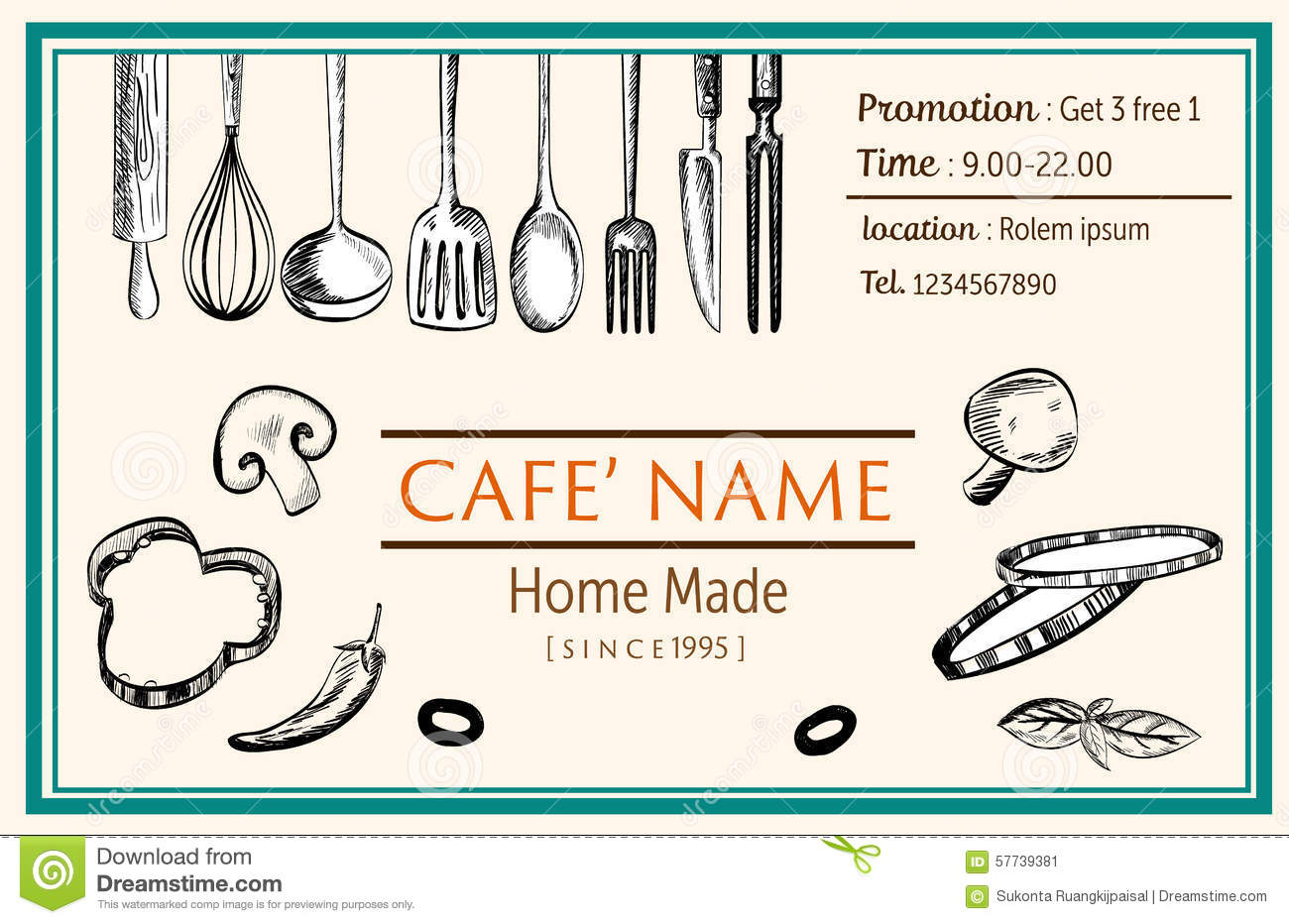 Name Card Brochure Restaurant Template Doodle Drawing