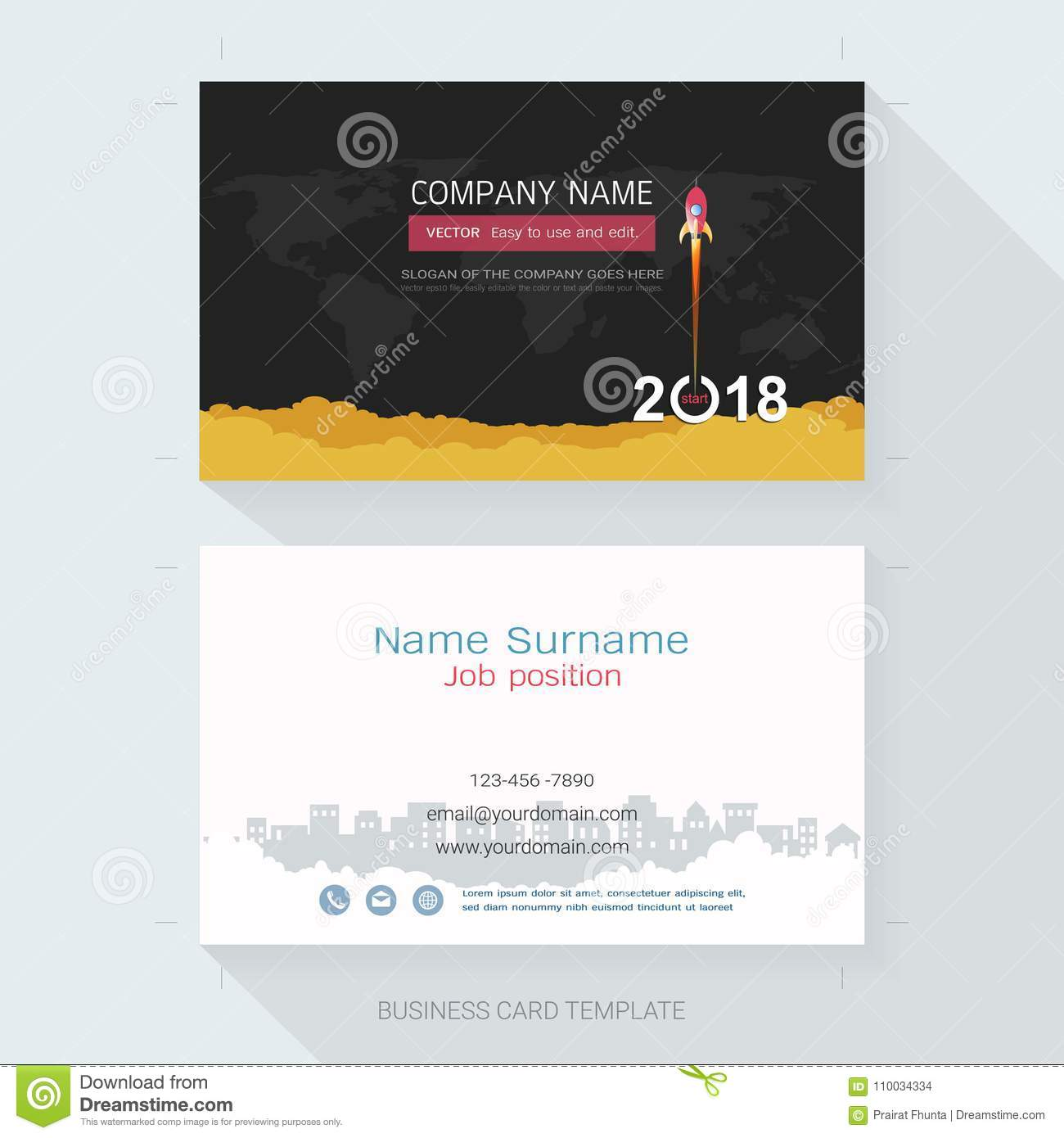 Name Card Or Business Card Design Template. Stock Vector ...