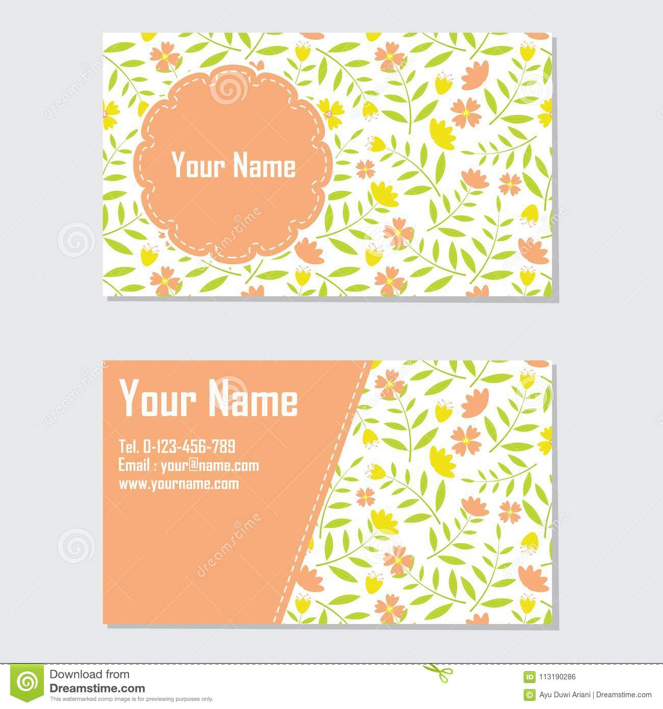 Yellow And Orange Flower Business Card Stock Illustration