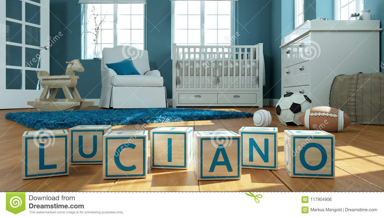 Download The Name Luciano Written With Wooden Toy Cubes In Childrens Room Stock Photo