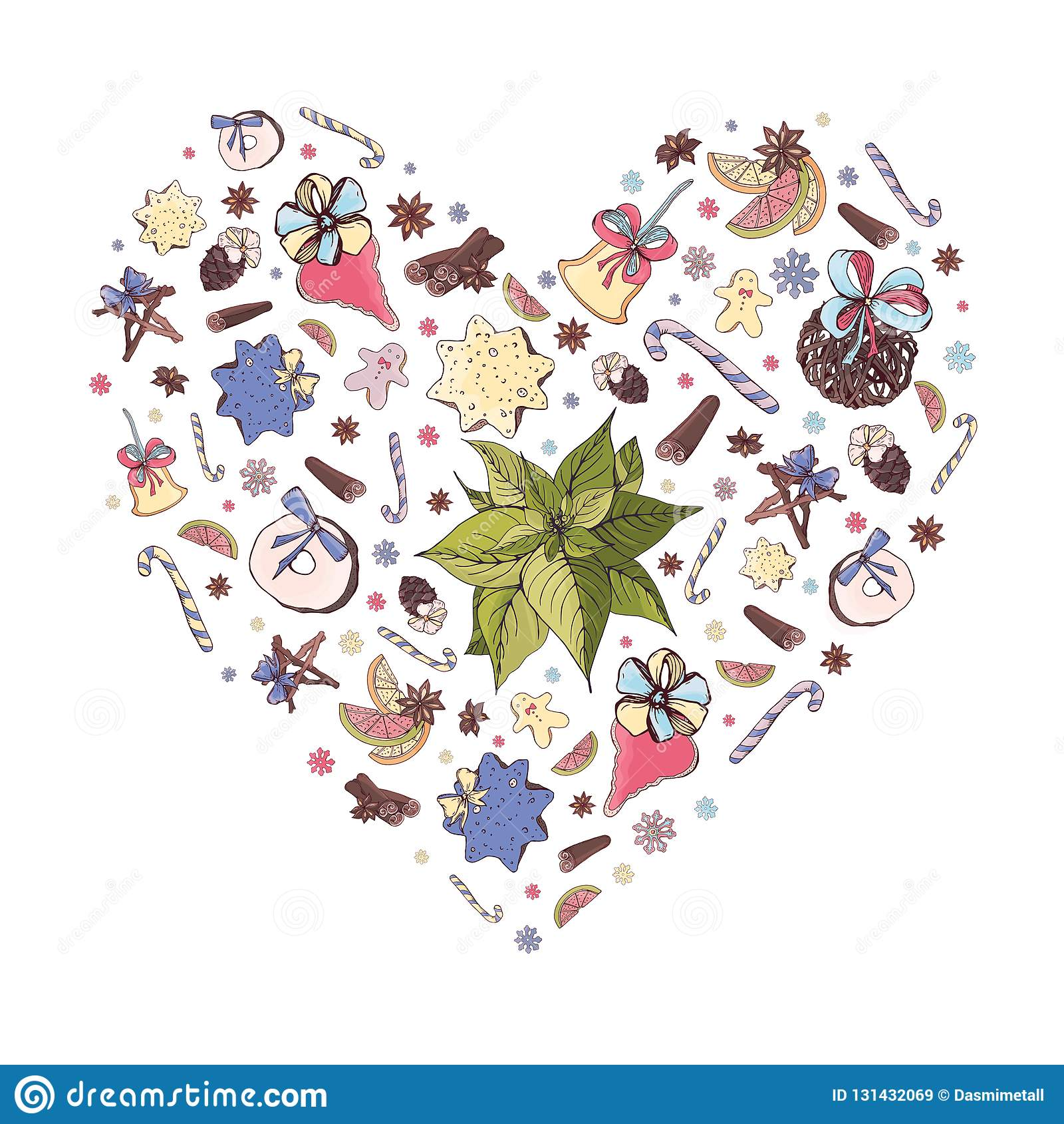 Cute Christmas Heart Shape Illustration With Traditional