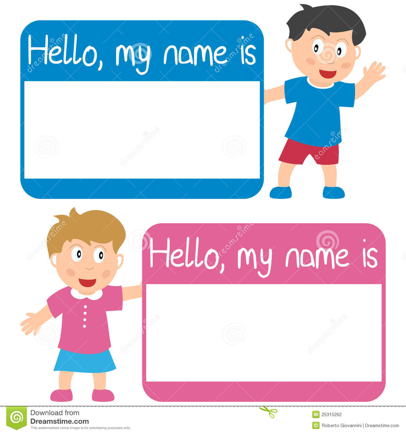 Boys Premium Name Labels: Name Tag With Kids Stock Vector. Illustration Of Isolated