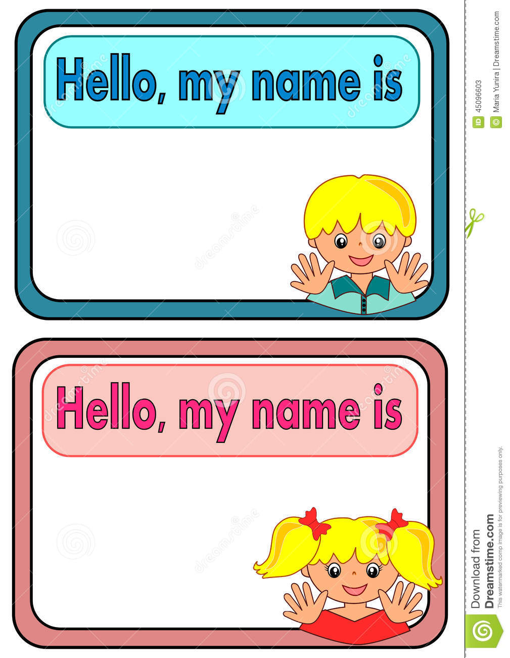 name tag for kids stock vector illustration of pink 45096603