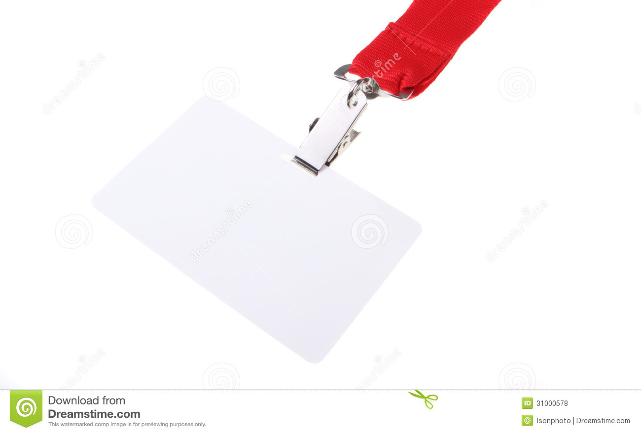Custom Card Template template name card free download : Blank clip on name tag with red lanyard and copy space isolated on ...