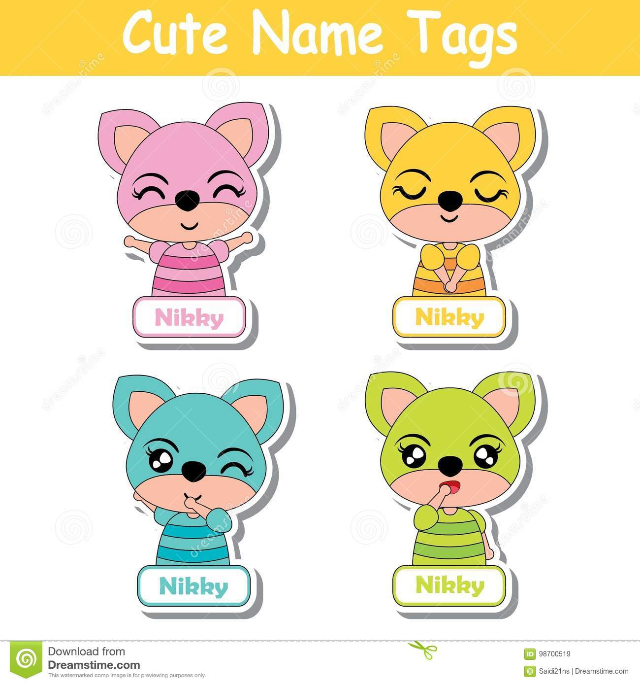 Name Tag Vector Cartoon Of Colorful Cute Fox Girls Suitable