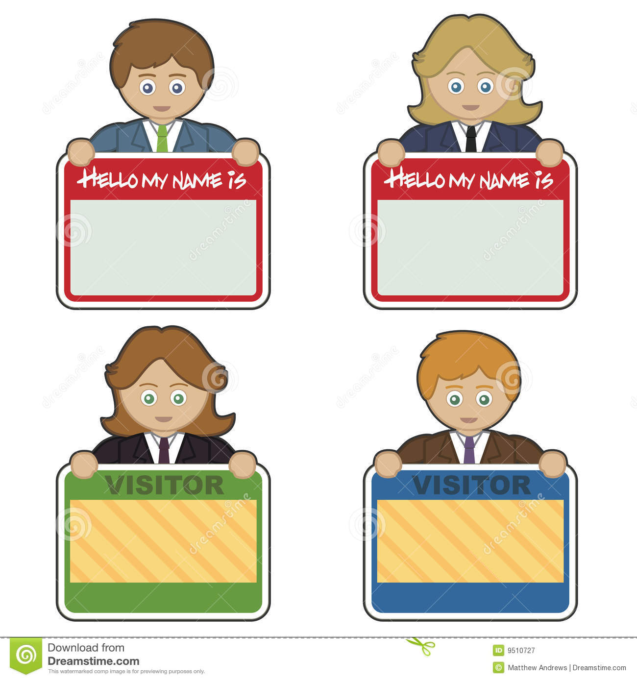 name tags stock vector illustration of woman visitor 9510727