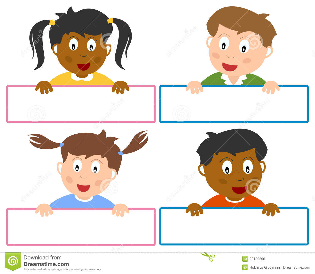 Name tags for boys and girls, isolated on white background. Eps file ...