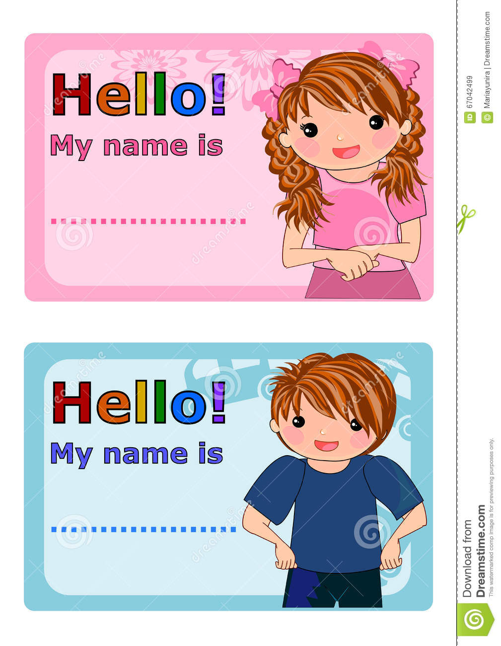 Name Tags For Kids Stock Illustration - Image: 67042499