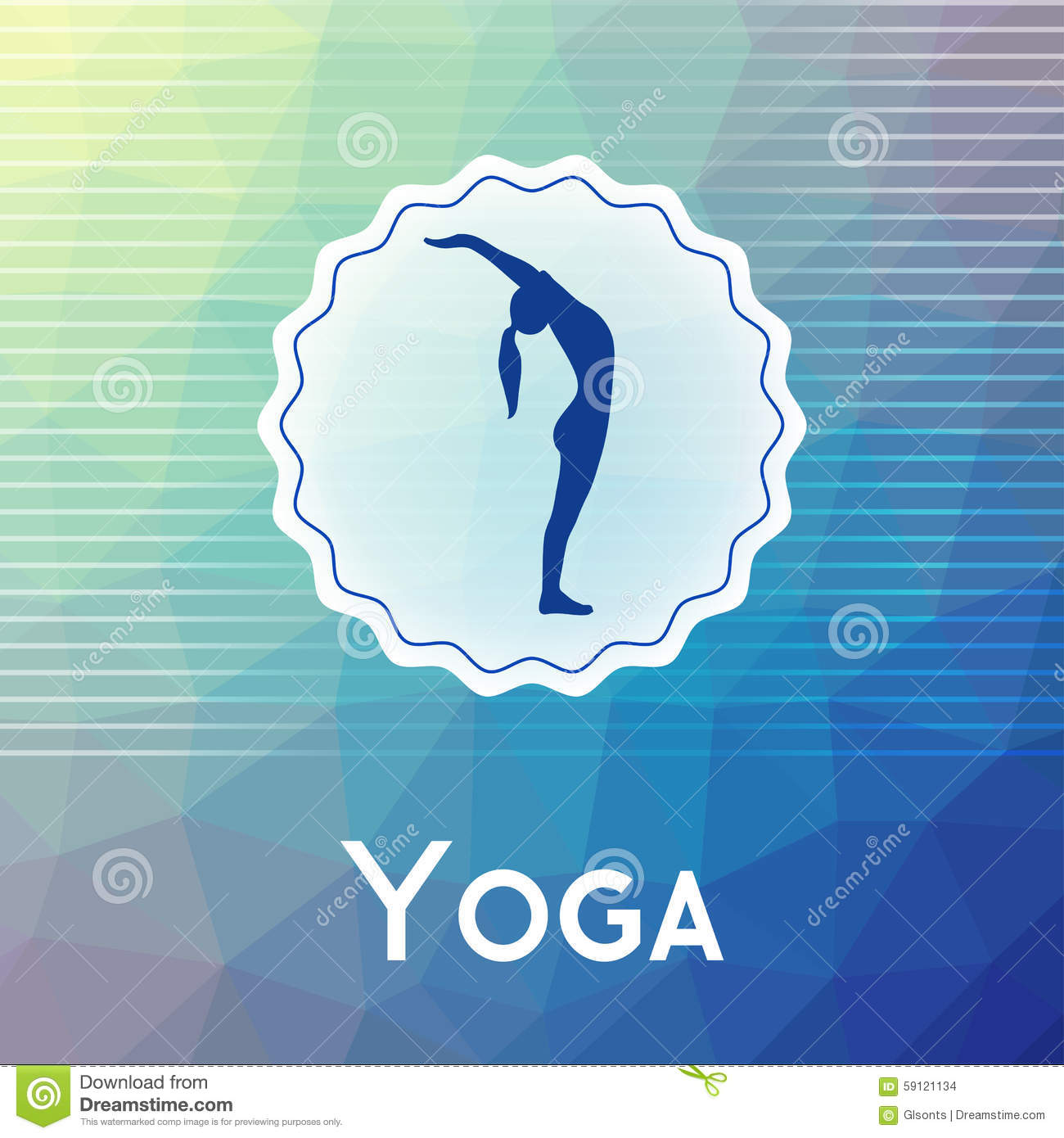 Vector Yoga Illustration Name Of Studio On A Modern Polygonal Background Exercises For Healthy Lifestyle Poster Template Class