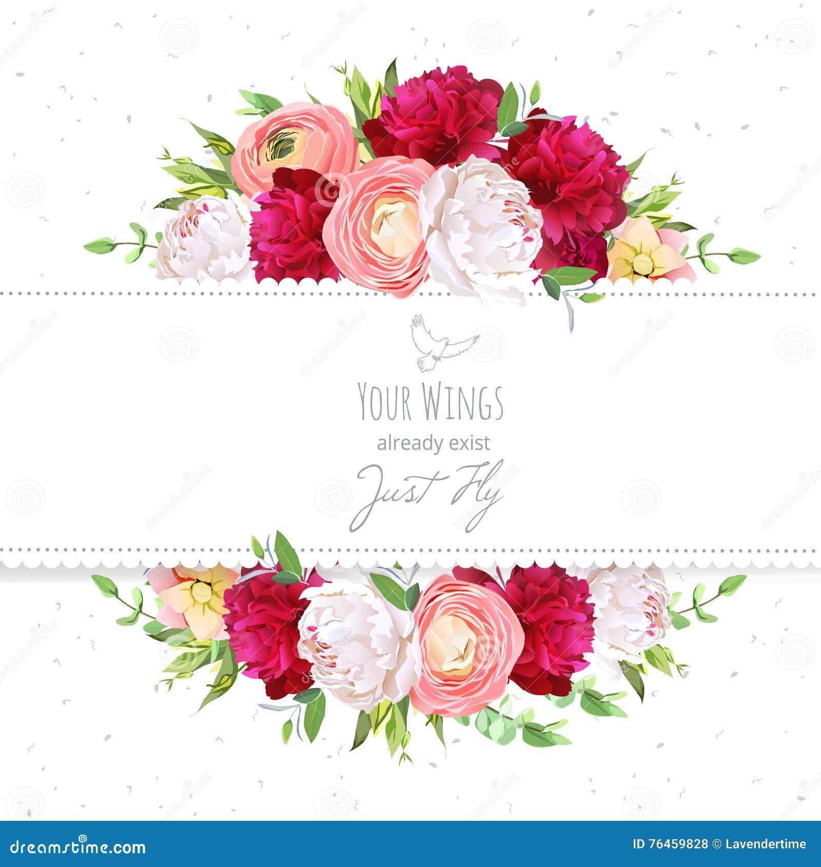 Namen de rode en witte pioenen van Bourgondië, roze ranunculus, vectorontwerpkader toe