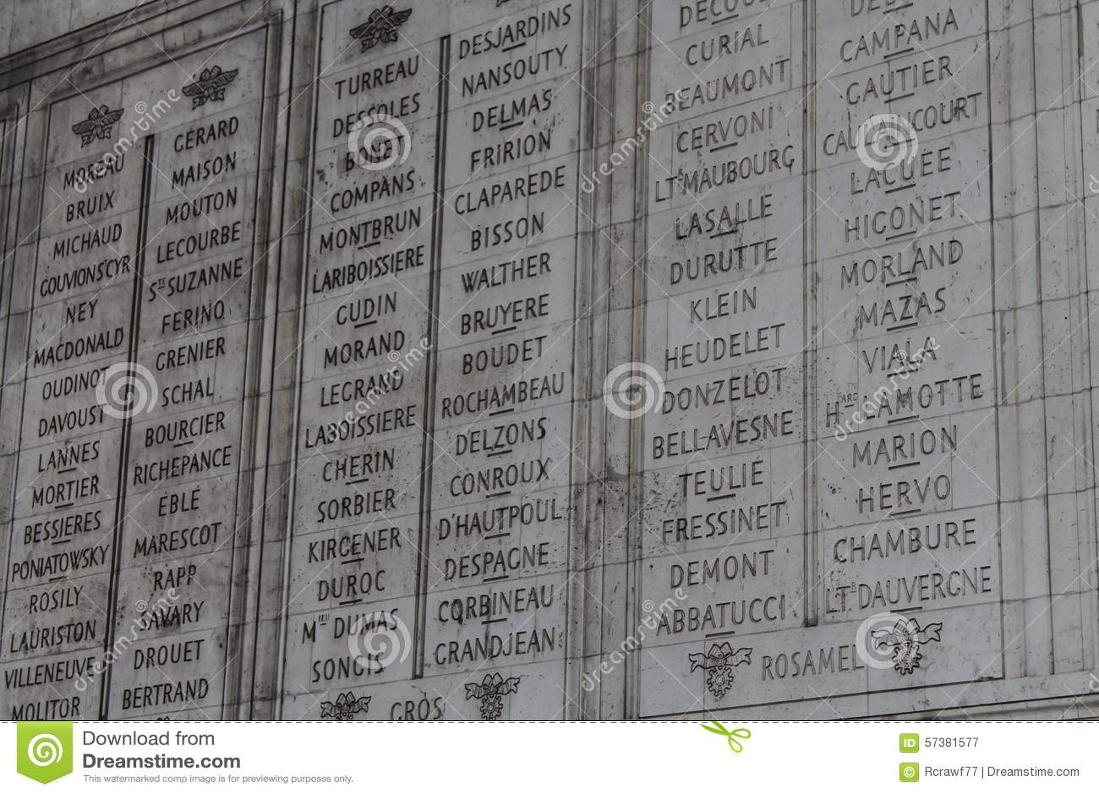 Namen op Arc de Triomphe