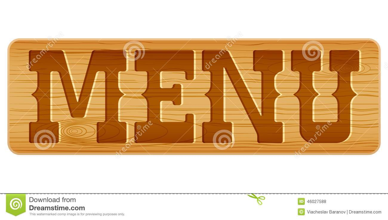 nameplate of wood with word menu. stock vector - illustration of