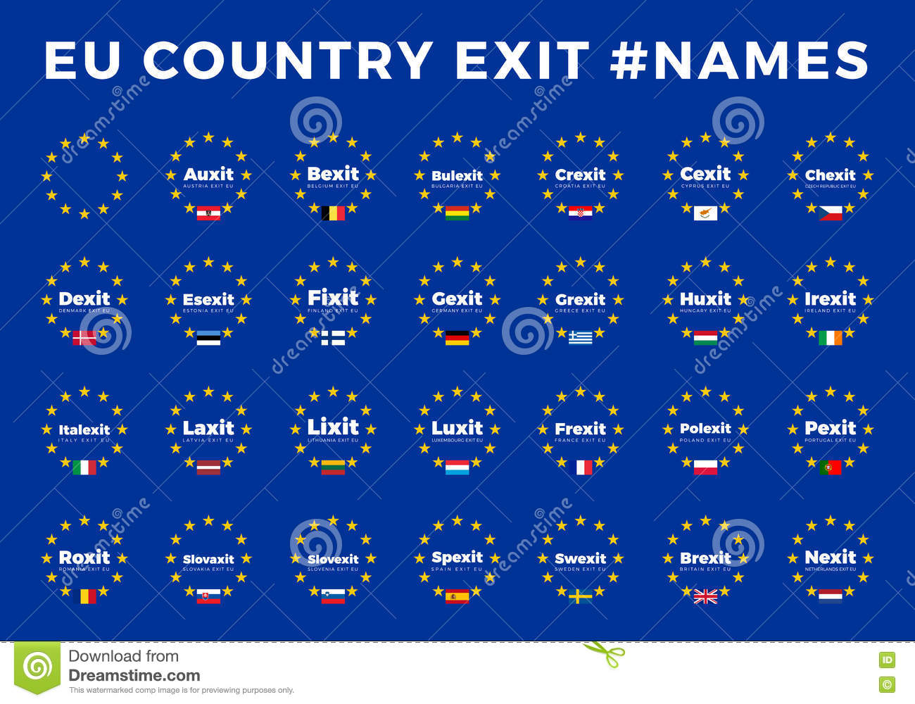 A Z Country Names >> Names For EU Exits Members. Brexit, Frexit, Italexit, Spexit Stock Image - Image: 73563505