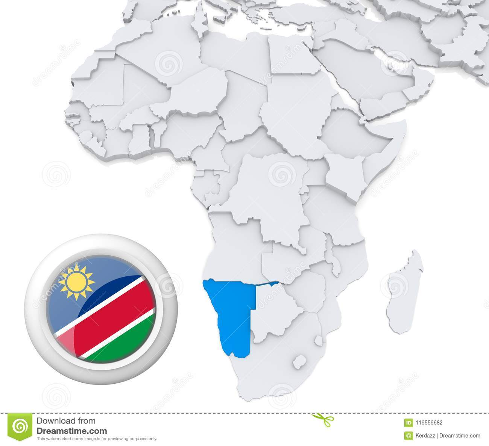 Namibia on Africa map stock illustration. Illustration of emblem ...