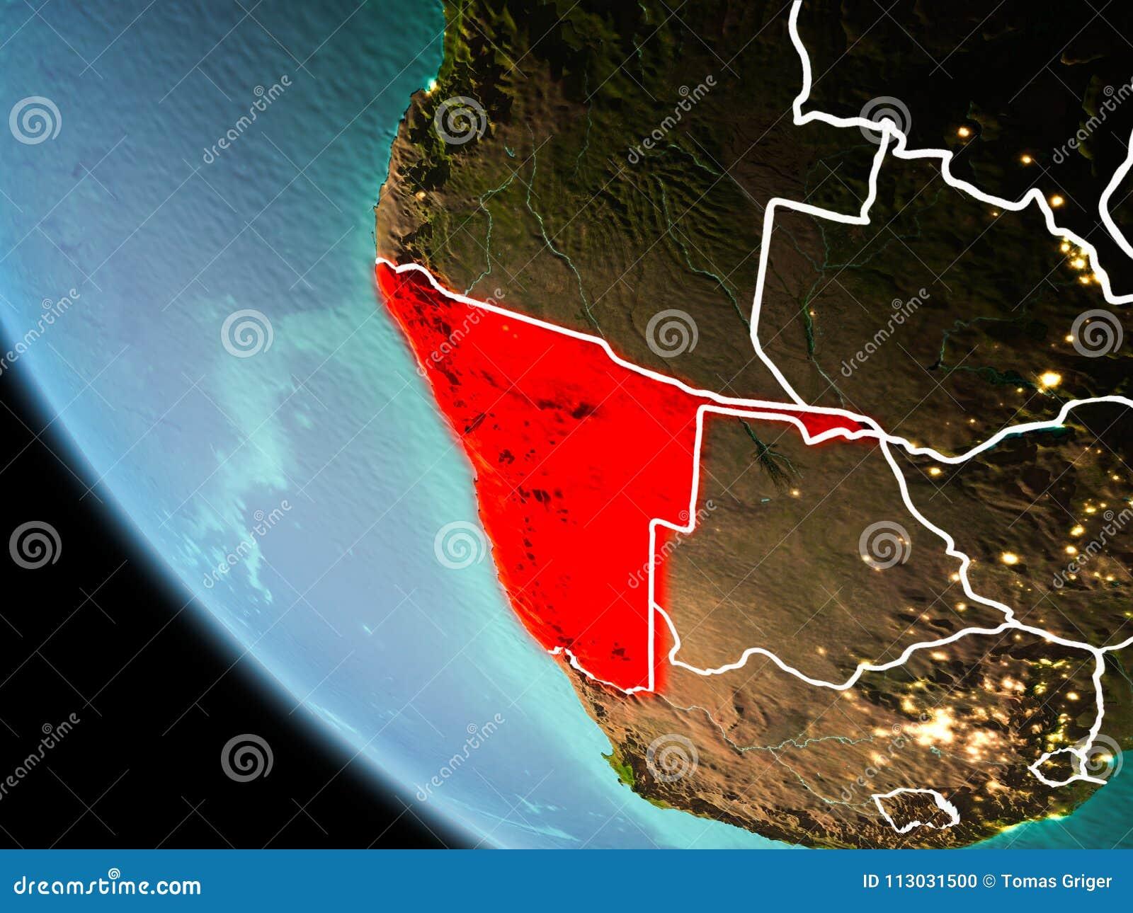 Namibia en la noche en la tierra