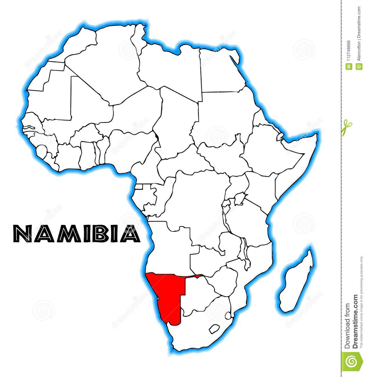 Namibia Africa Map stock vector. Illustration of african ...