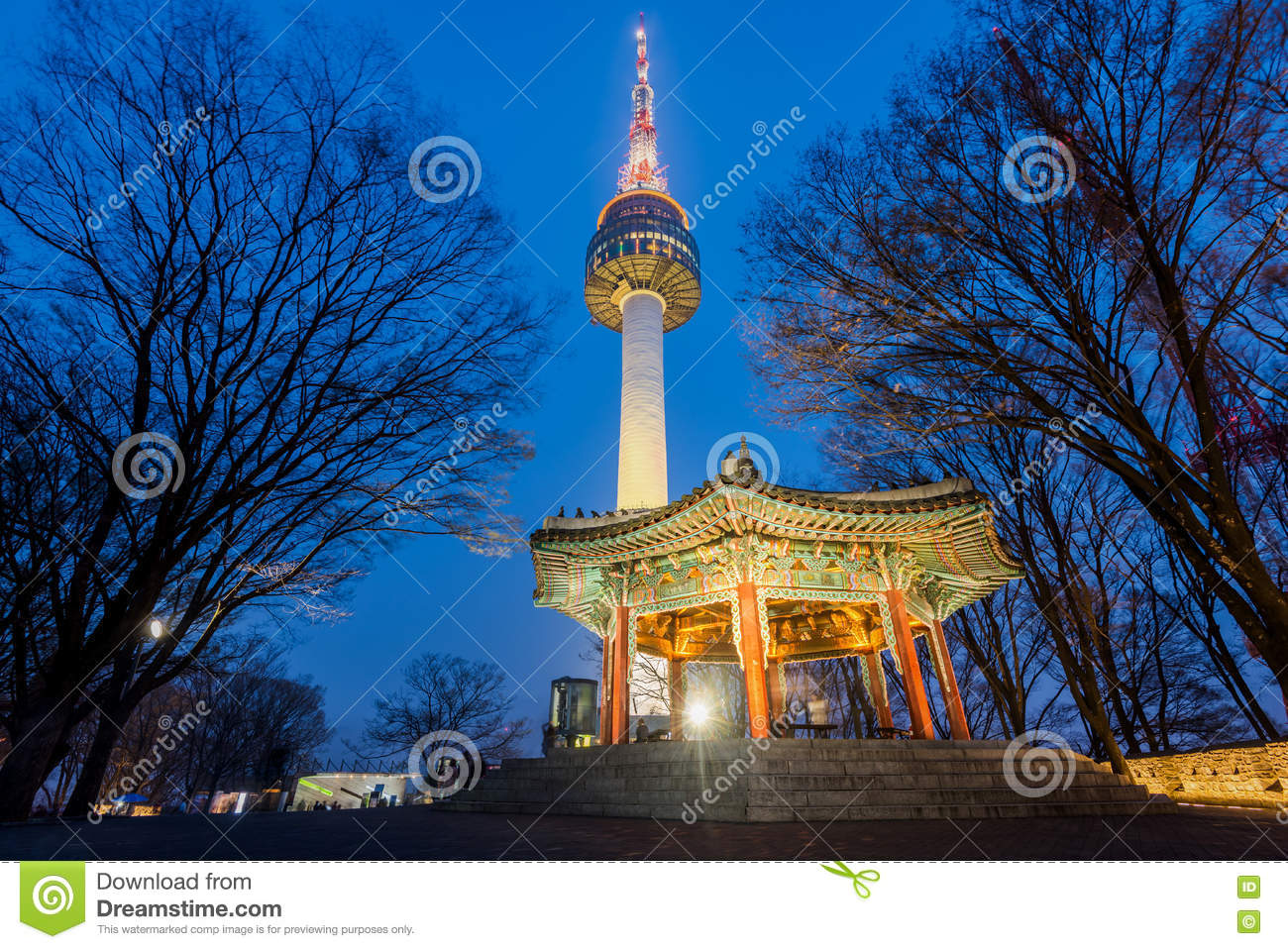 Namsan Mountain Seoul Tower At Night In Seoul South Korea Stock Photo Image Of Travel View 70820730