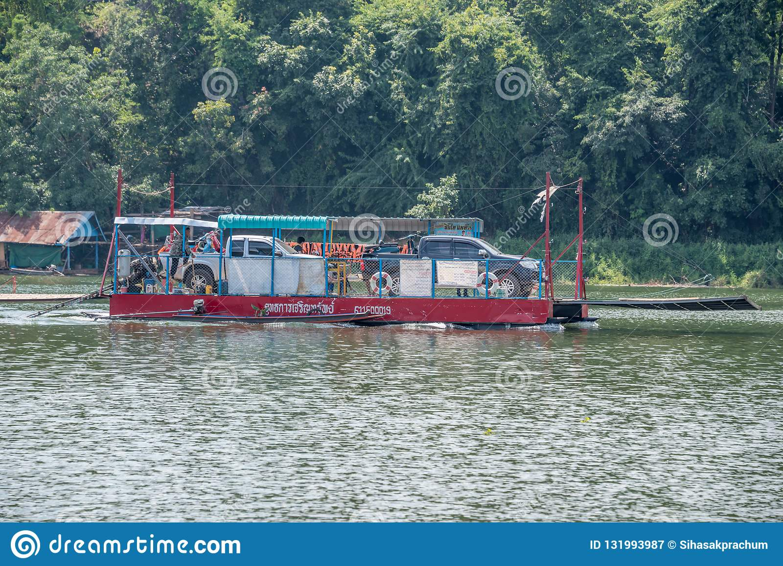 Wooden Raft Ferry In Nan,Thailand Editorial Photography