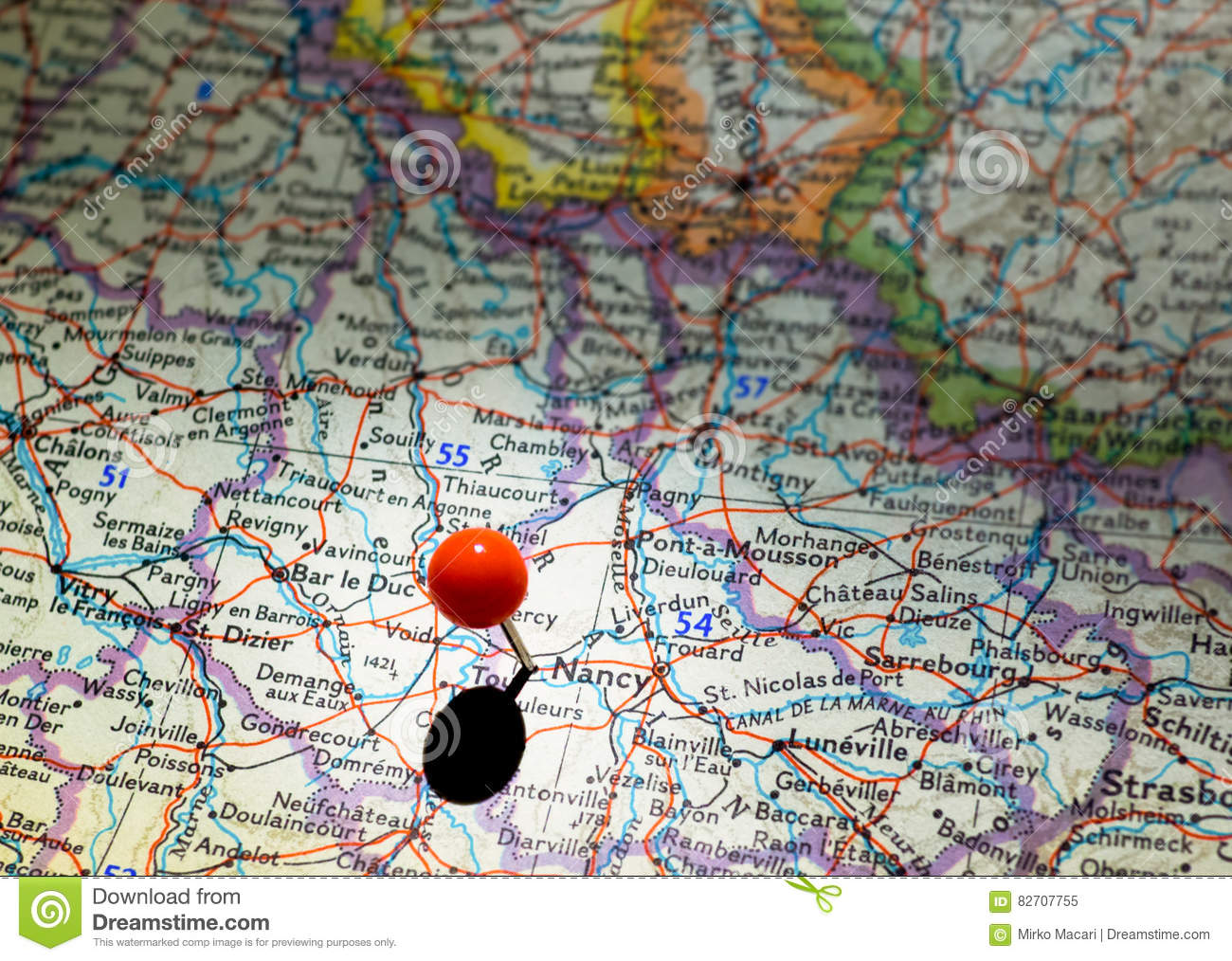Map Of France Nancy.Nancy Location Pinned On The Route Map Stock Image Image Of