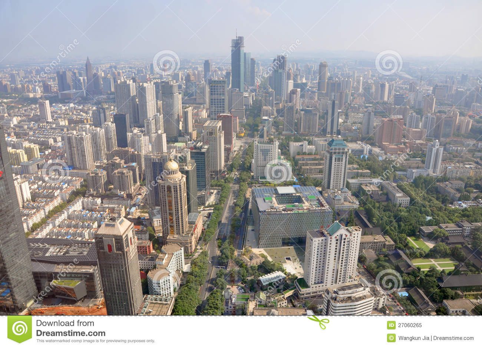 Aerial view of Nanjing Modern City Skyline Xinjiekou (South), viewed ...