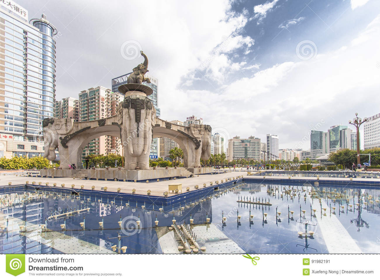 Nanning, China-Nov 9, 2016: Wuxiang Square In The Capital Of