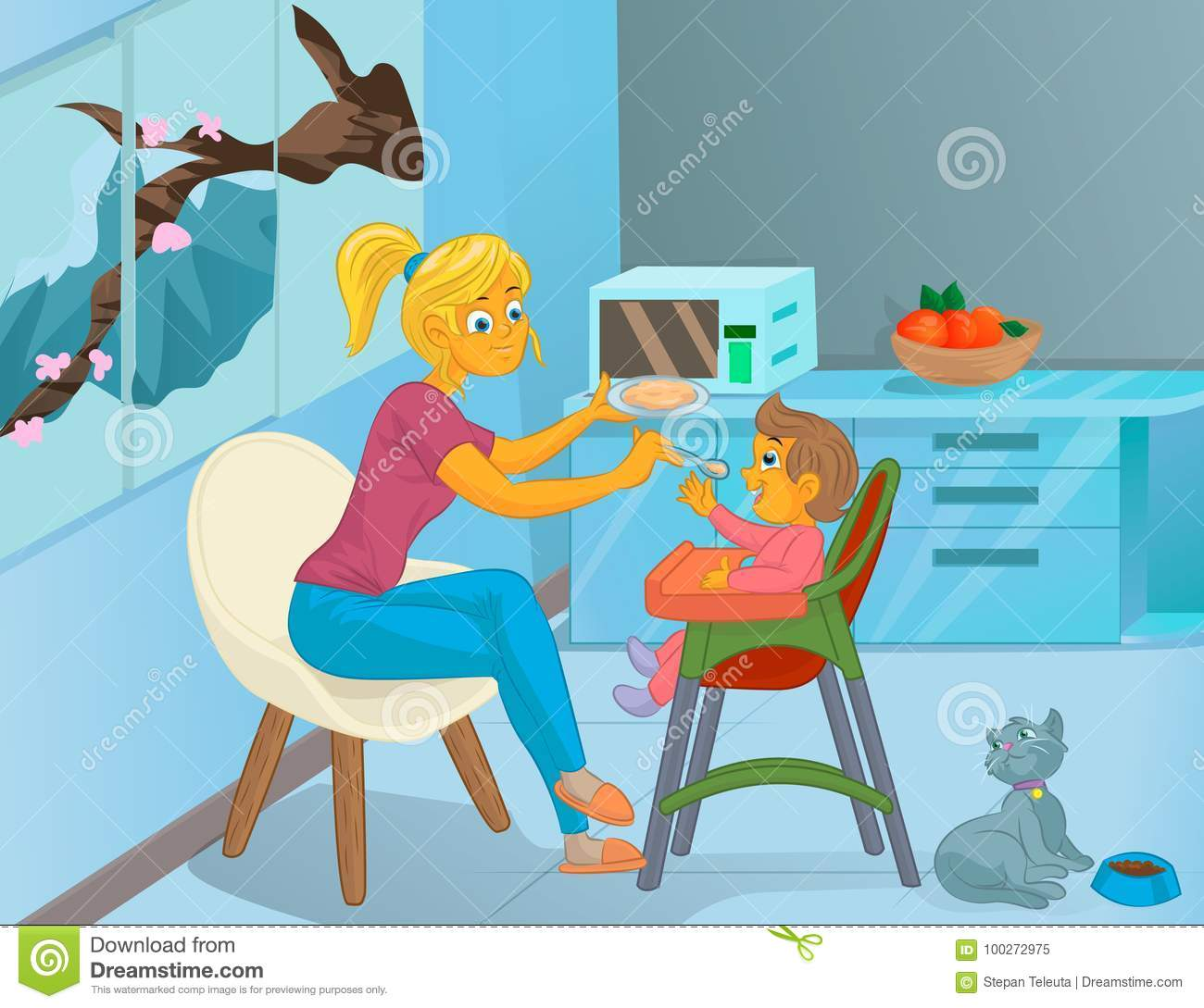 Nanny In The Kitchen Is Feeding The Child Stock Vector ...