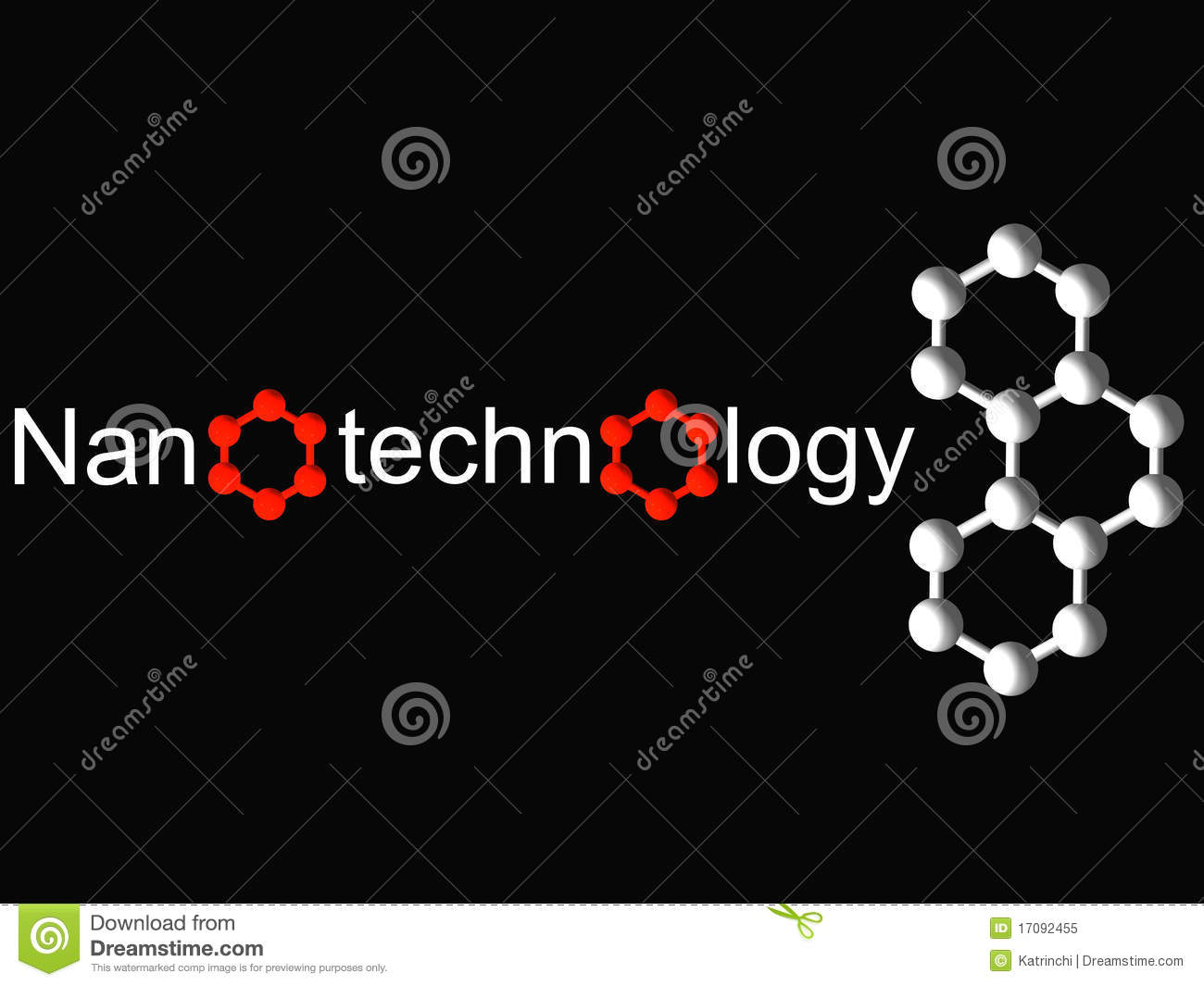 Nanotechnology Symbol And White Molecule On Black Royalty