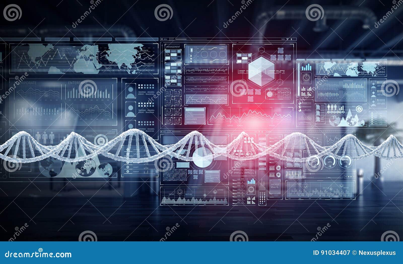 Nanotecnologia e pesquisa da molécula do ADN Meios mistos