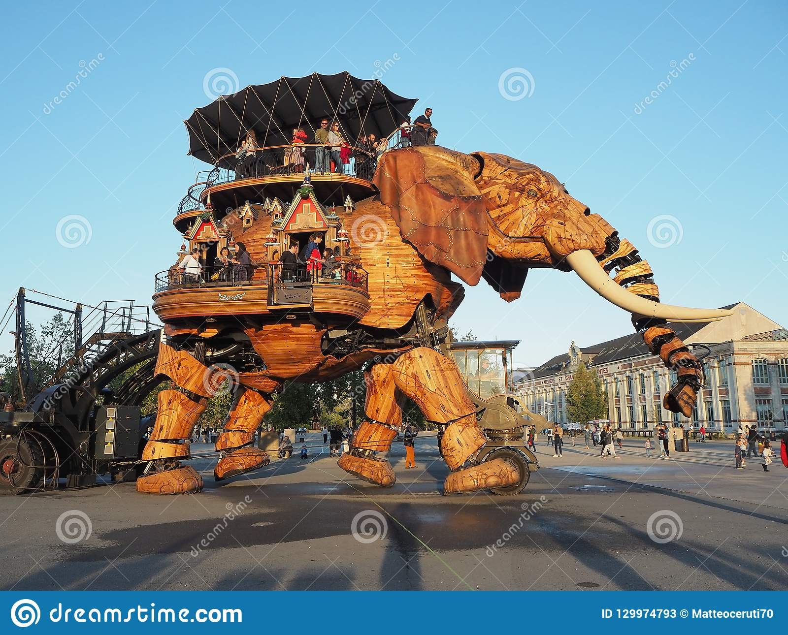 Nantes, France. The amusement park Machines of the Isle of Nantes. The big elephant