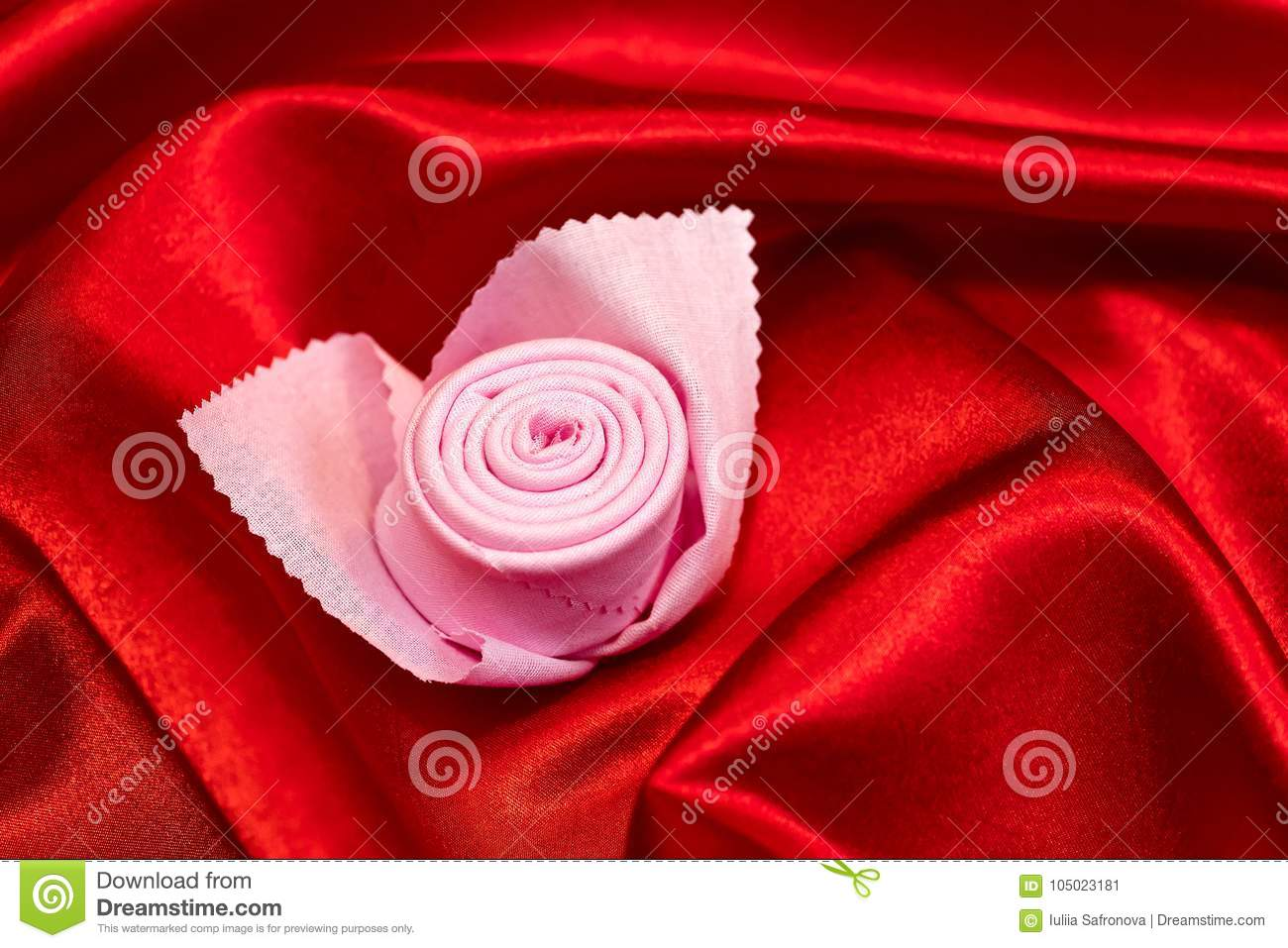 Napkin Folded In The Form Of A Pink Flower On A Red Cloth Stock Image Image Of Passion Folded 105023181