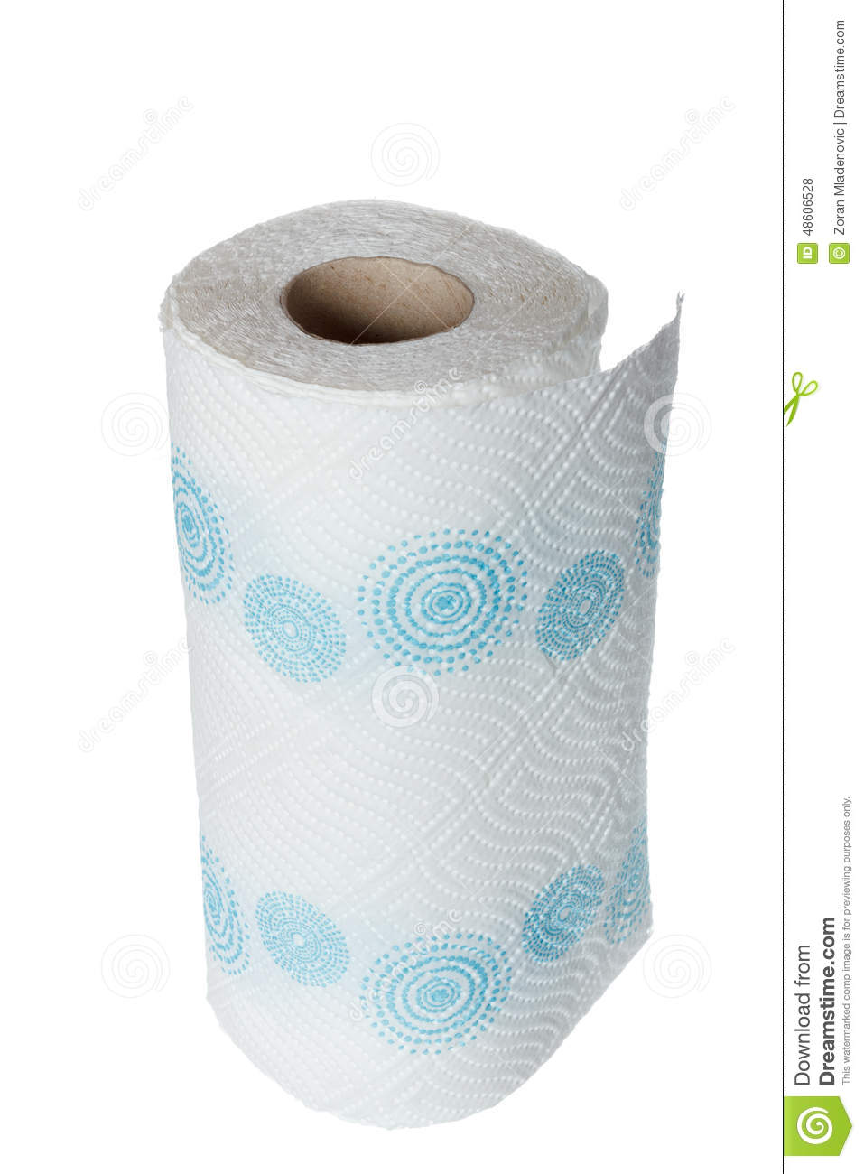 Napkin Paper Towel Kitchen Roll With Blue Patterns. Stock Photo ...