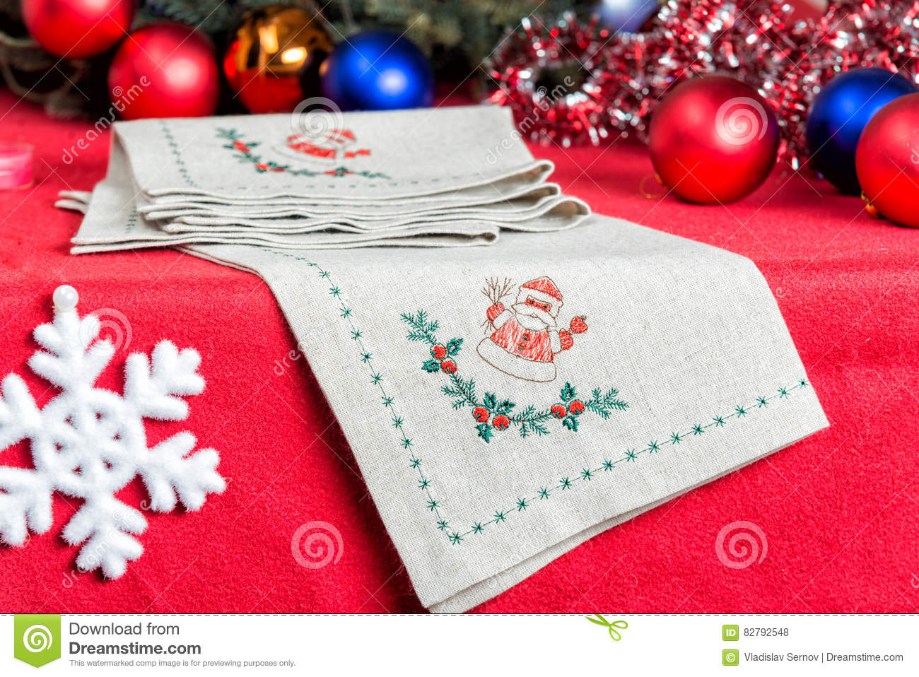 Napkins Embroidered With Santa Claus For Christmas Stock Photo Image Of Embroidery Homemade 82792548