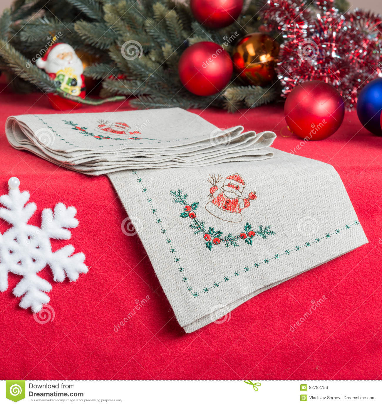 Napkins Embroidered With Santa Claus For Christmas Stock Photo Image Of Part Linen 82792756