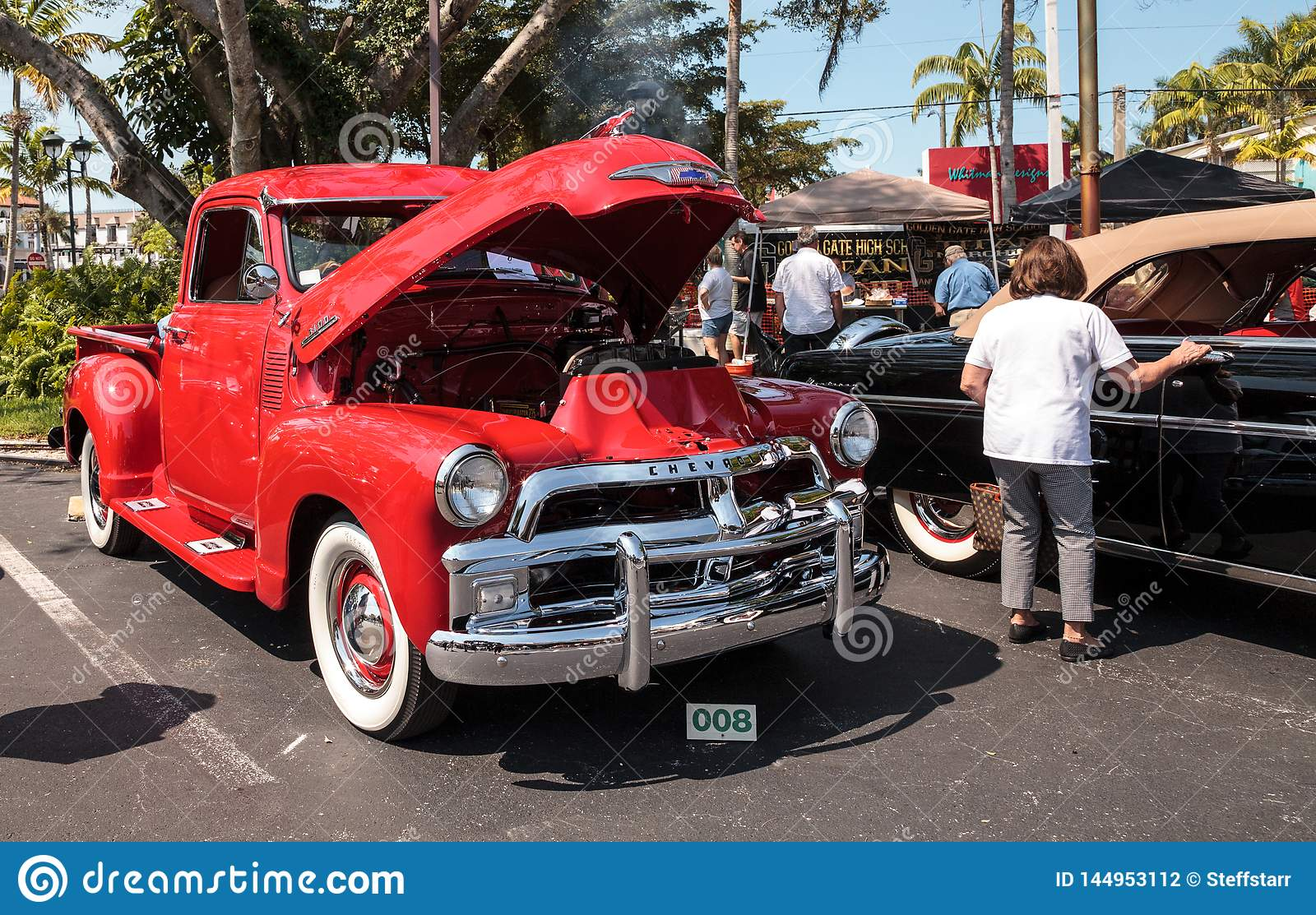 Red 1954 Chevrolet At The 32nd Annual Naples Depot Classic