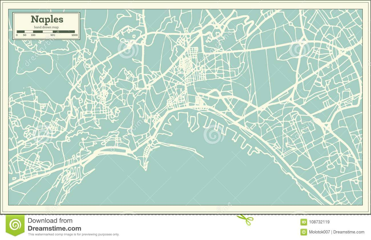 Naples Italy City Map In Retro Style. Outline Map. Stock Vector ...
