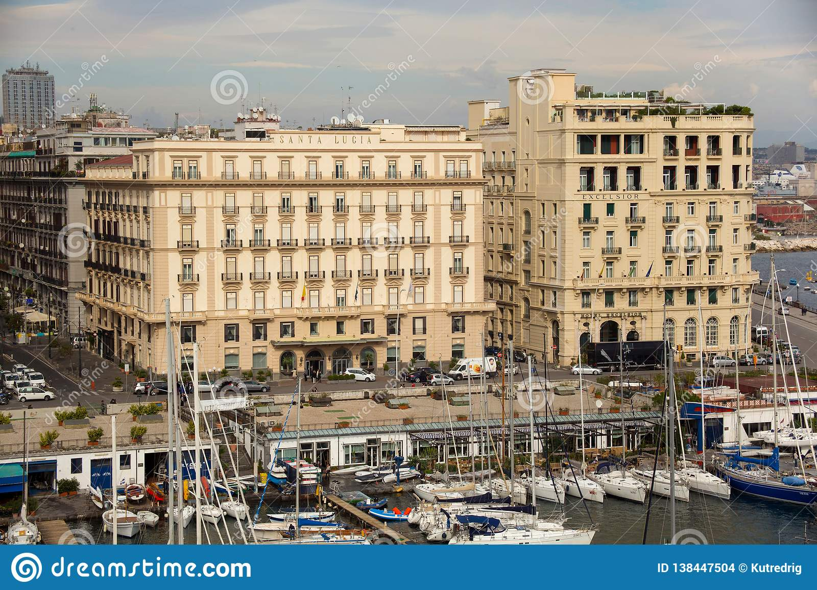 NAPLES, ITALY - OCTOBER 31, 2015: Air view of the Grand Hotel Santa Lucia and Hotel Excelsior in historical center of Naples.