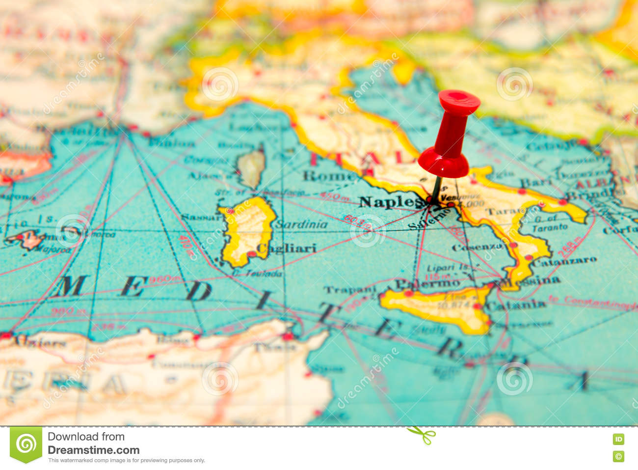 Map Of Europe Showing Italy.Naples Italy Pinned On Vintage Map Of Europe Stock Image Image Of