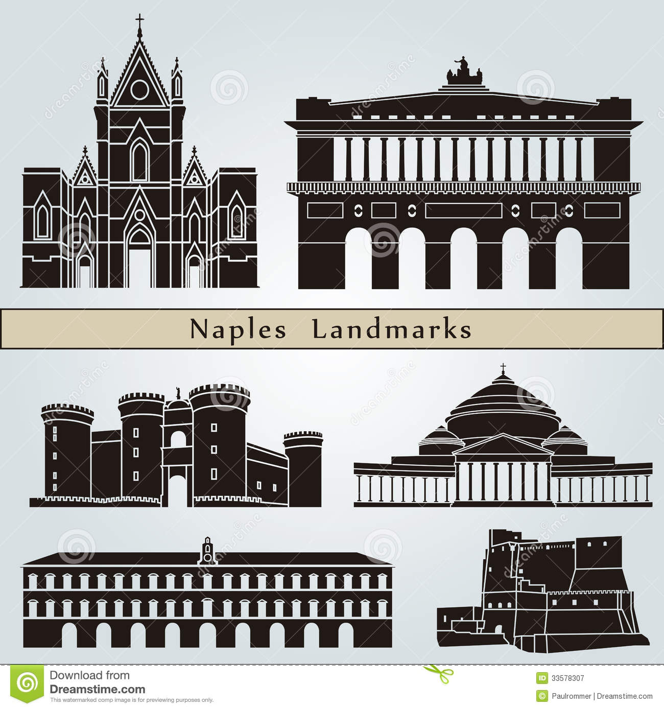 Naples Landmarks And Monuments Royalty Free Stock Photography - Image ...