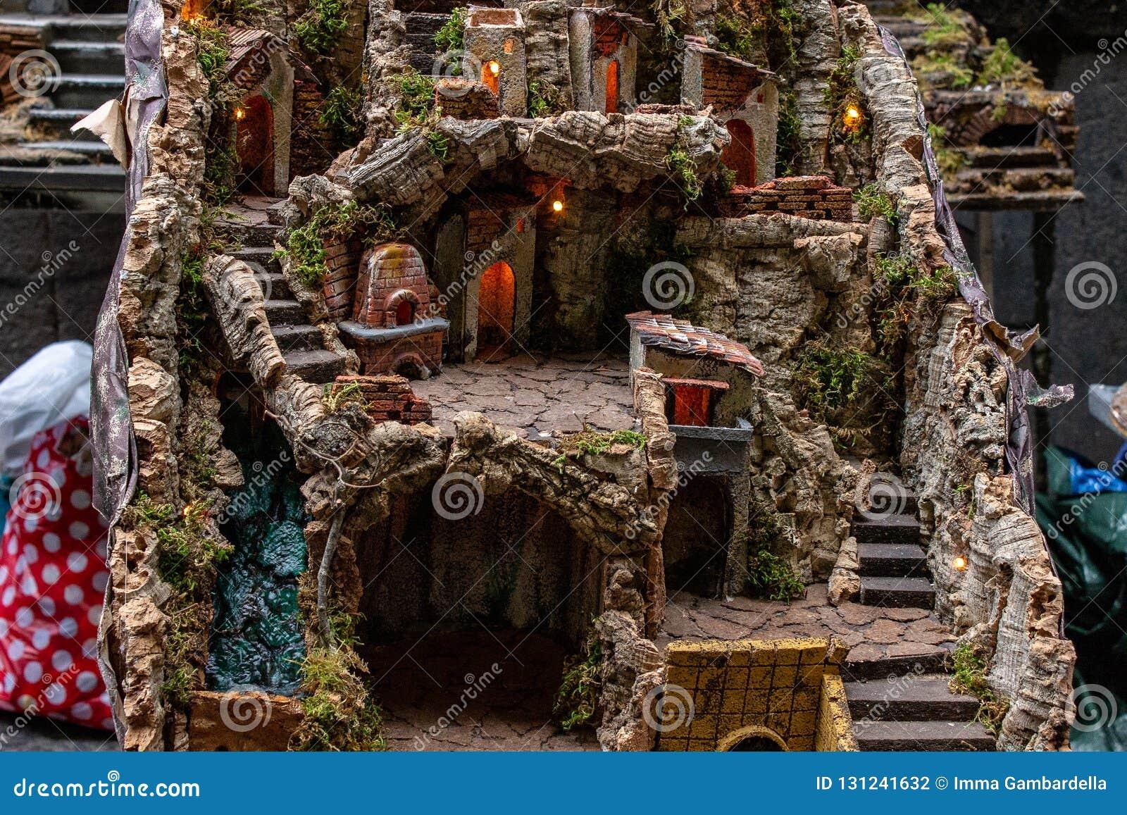 Naples, San Gregorio Armeno, przykład rzemieślnika narodzenie jezusa scena
