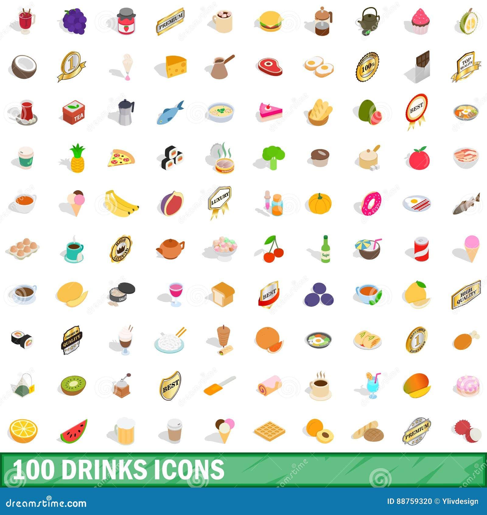 100 napojów ikon ustawiających, isometric 3d styl
