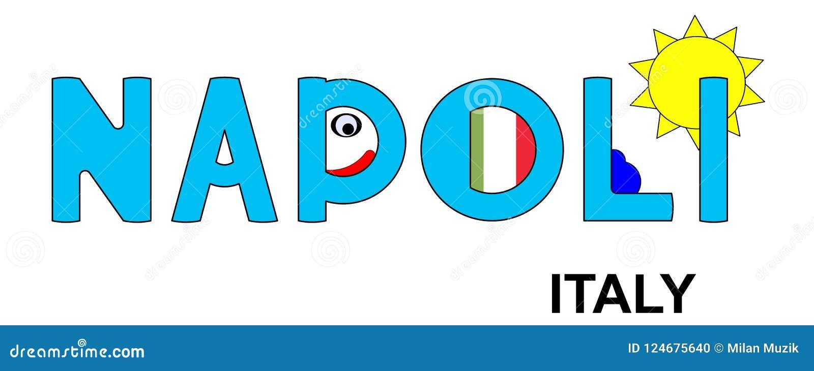 Napoli - Italien, abstrakte Aufschrift im Blau