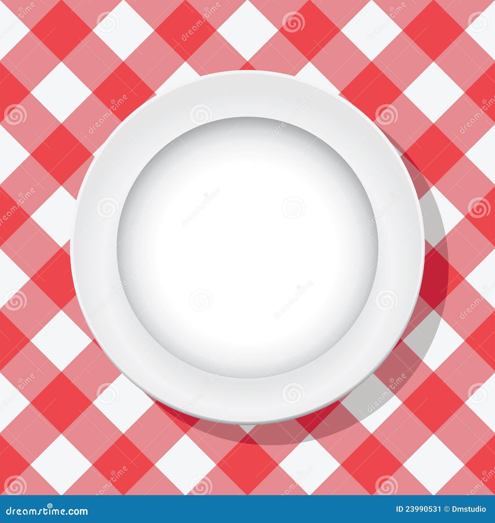 nappe de pique nique et plaque vide image stock image 23990531