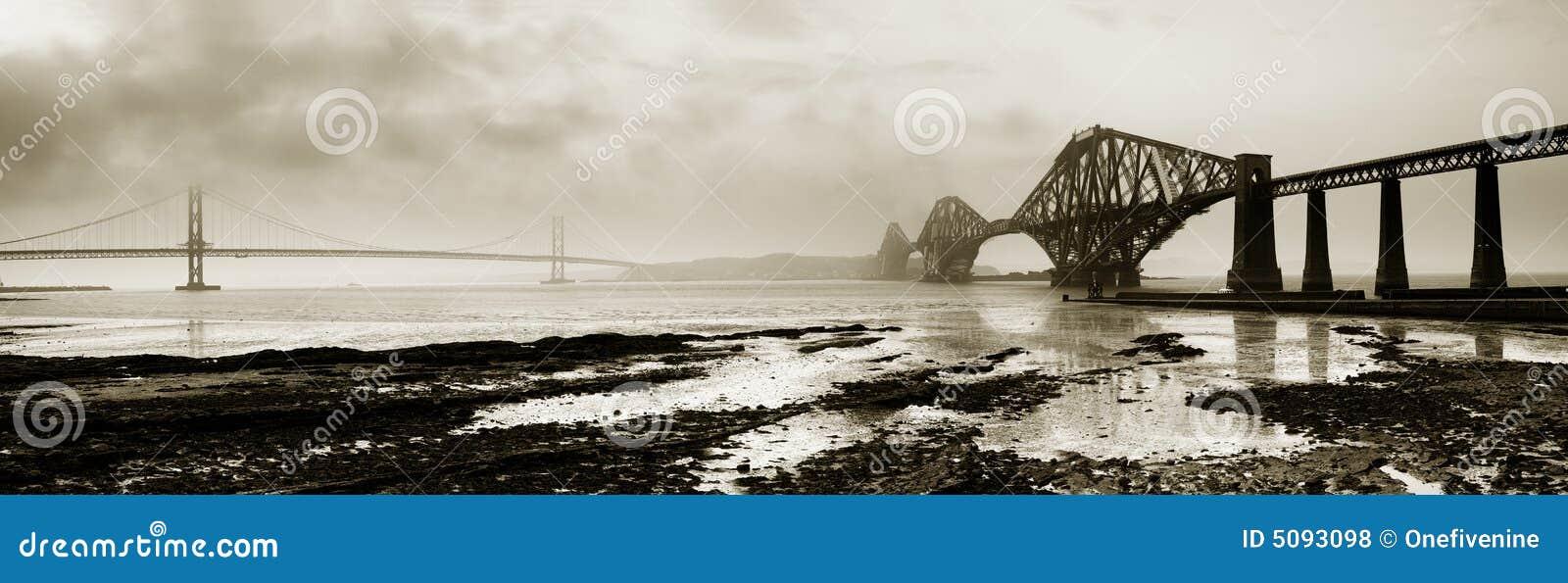 Naprzód monochromatyczny panor mostów