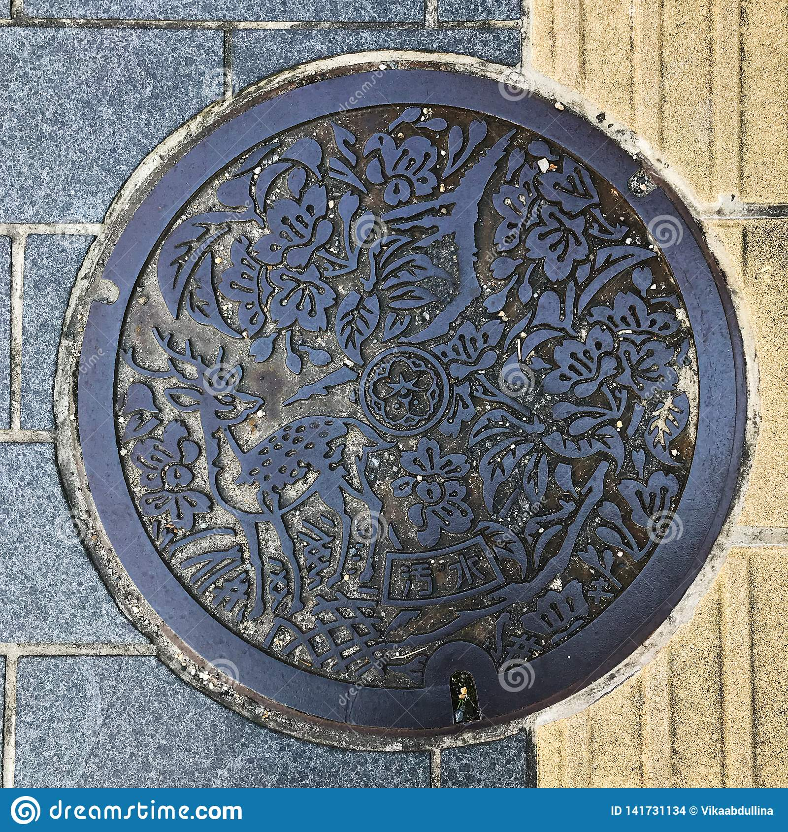 Nara, Japan 11 Oktober, 2018: riool GLB/mangatdekking/broedsel, Japanse taalmiddelen Nara