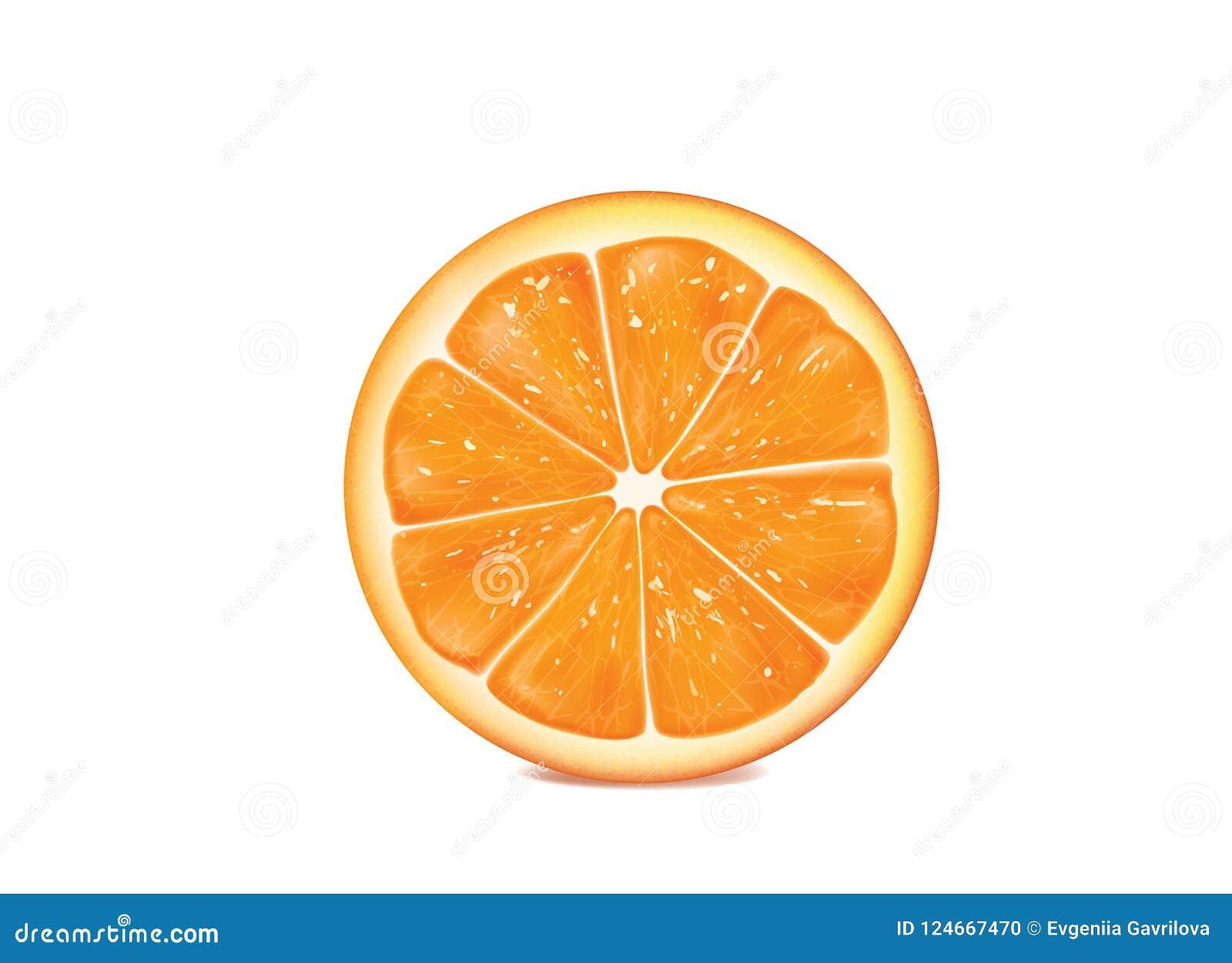 Naranja en el fondo blanco