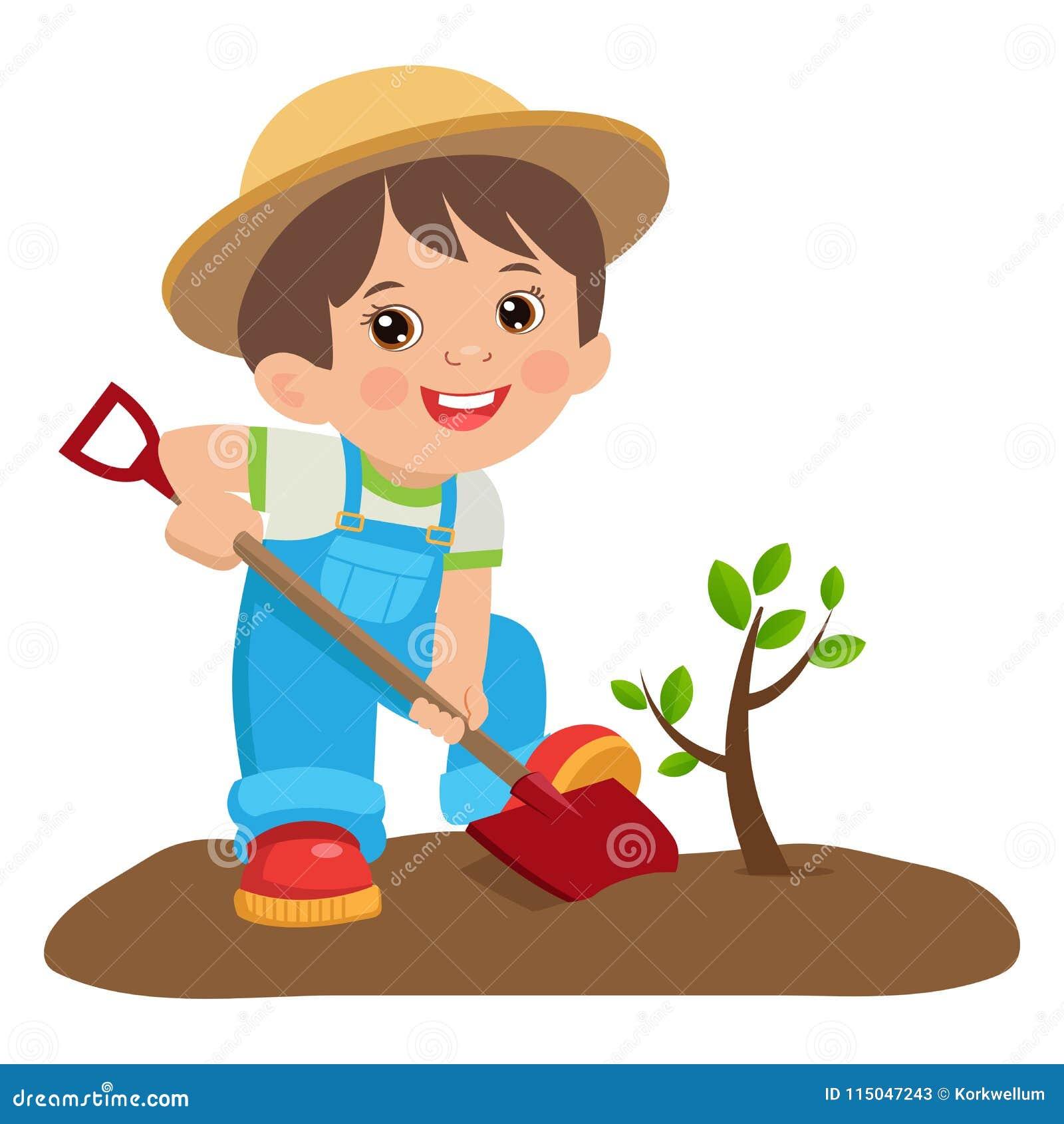 Narastająca Młoda ogrodniczka Śliczna kreskówki chłopiec Z łopatą Młody rolnik Zasadza drzewa