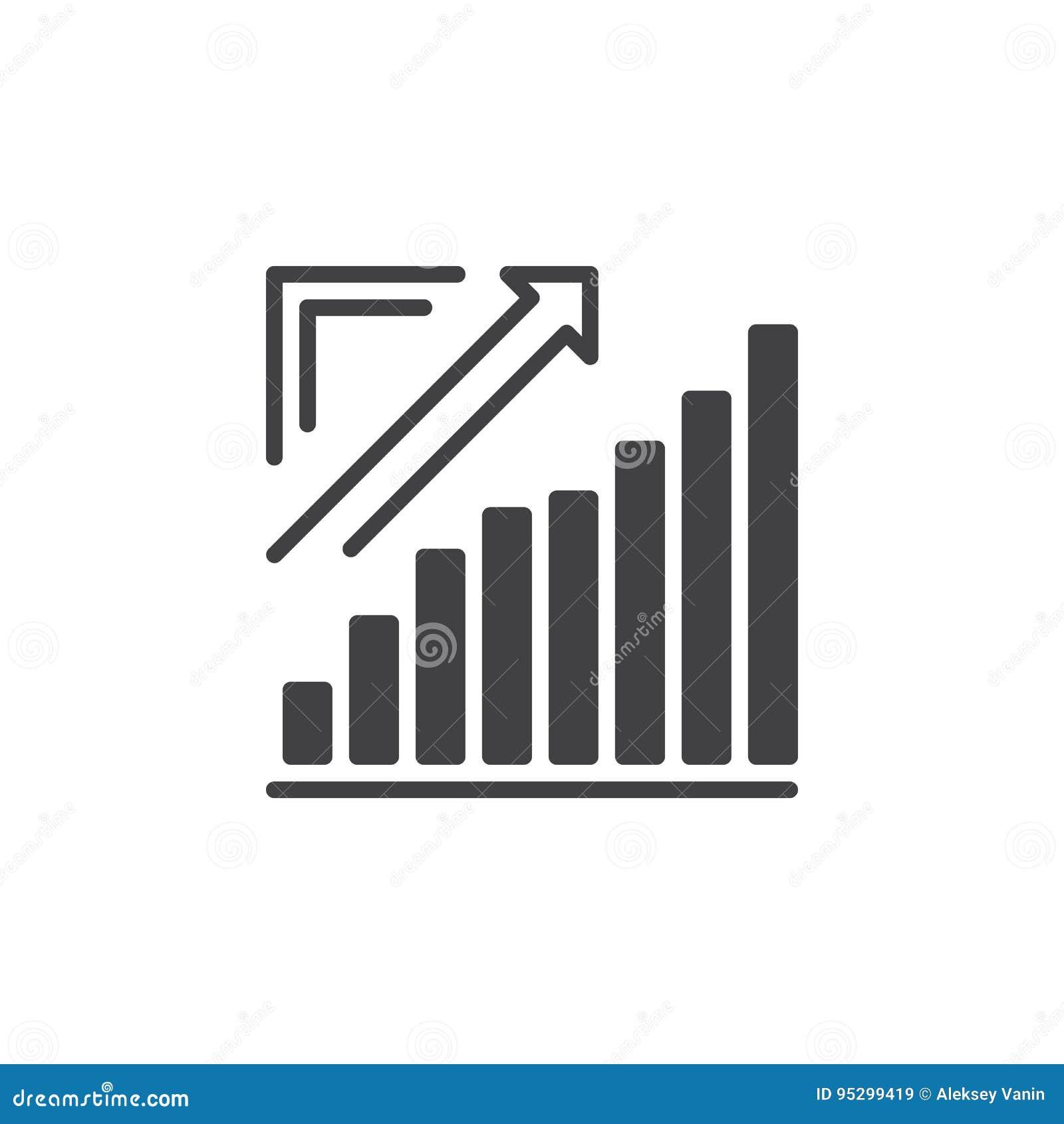Narastająca mapa, Strzałkowaty wykres iść up ikona wektor, wypełniający mieszkanie znak, stały piktogram na bielu